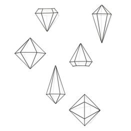 Umbra Prisma Geometrische Wanddekoration – Deko zum Aufhängen an Wand und Decke oder als Tischdekoration Verwendbar, Set mit 6 Prisma Hälften, Metall / Schwarz - 1