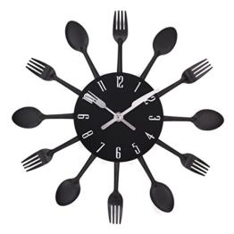 UNIQUEBELLA Besteck Uhr Besteckuhr Küchenuhr Wanduhr Analoger Uhr Metall D 33 cm in Schwarz - 1