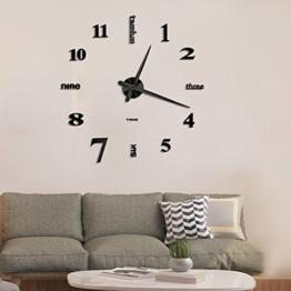 Vangold Moderne Mute DIY große Wanduhr 3D Aufkleber Home Office Decor Geschenk (Schwarz-14) - 1