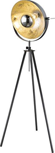 Vintage Stehleuchte mit beweglichen Schirm Stehlampe Standlampe Dreibein (Höhenverstellbar, Studio-Lampe, Strahler, Metallic, Fassung E27) - 1