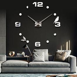 Vinteen Moderne Minimalistische DIY Personifizierte Digitaluhr Uhr Große Wanduhr 3D Mode Kreative Wohnzimmer Wanduhr Tv Hintergrund Wandaufkleber Zeitmesser Horologe (Schwarz / Golden / Silber) ( Color : Silver ) - 1