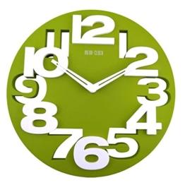 VORCOOL Neuheit Hollow-Out 3D große Ziffern Küche Büro Hauptdekor rund geformte Wall Clock Kunst Uhr (grün) - 1