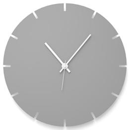 """Wandkings Wanduhr """"Gear Wheel"""" aus Acrylglas, in 11 Farben erhältlich (Farbe: Uhr = Grau glänzend; Zeiger = Weiß) - 1"""