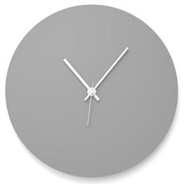 """Wandkings Wanduhr """"Scheibe"""" aus Acrylglas, in 11 Farben erhältlich (Farbe: Uhr = Grau glänzend; Zeiger = Weiß) - 1"""