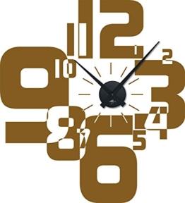 Wandtattoo Uhr Wanduhr mit Uhrwerk für Wohnzimmer moderner Zahlenmix Zahlen (Uhr Schwarz//091 gold ) - 1