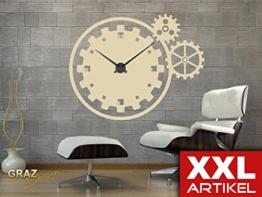 Wandtattoo Wanduhr XXL Zahnräder mit Uhrwerk (Uhr Silber/Aufkleber Beige) - 1