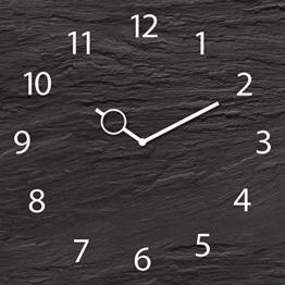Wanduhr aus Glas, Black Slate, Schieferoptik schwarz, 30x30 cm von Eurographics - 1