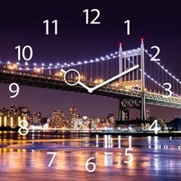Wanduhr aus Glas, NY City Lights, Brücke bei Nacht, 30x30 cm von Eurographics - 1