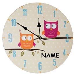 """Wanduhr aus Holz - """" lustige Eulen auf Ast """" - incl. Namen - 34 cm groß - sehr leise ! - Uhr - Analog - Kinderzimmer & Wohnzimmer - für Jungen Mädchen Kinder - Eule Blätter Holzuhr / für Kinderuhr - Eulenmotiv - 1"""