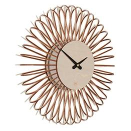 Wanduhr Circulo S: moderne Design Wanduhr aus Holz. Vollkommen geräuschlos für Wohnzimmer, Küche, Schlafzimmer, Flur und Büro Taupe - 1