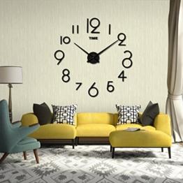 Wanduhr digitale Funk-Wanduhr stumme Bewegung Wohnzimmer DIY 3D Home Dekoration Spiegel Große Kunst Design LuckyGirls (Schwarz) - 1