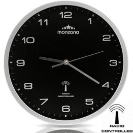 Wanduhr Funkuhr Quarz Funkwanduhr Analog Uhr 31cm Zeitumstellung Automatisch - schwarz/silber - 1