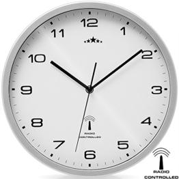 Wanduhr Funkuhr Quarz Funkwanduhr Analog Uhr 31cm Zeitumstellung Automatisch - weiß/silber - 1