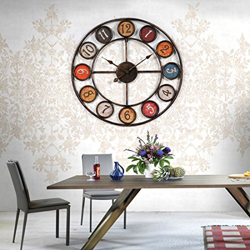 wanduhr gro xxl 60cm ct tribe 60cm vintage lautlos metall uhr wanduhr haus dekoration f r. Black Bedroom Furniture Sets. Home Design Ideas