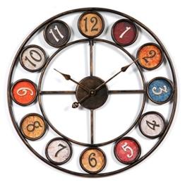 Wanduhr Groß xxl 60cm, CT-Tribe 60cm Vintage Lautlos Metall Uhr Wanduhr Haus Dekoration für Küche Wohnzimmer - 1
