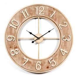 Wanduhr Groß XXL Lautlos, CT-Tribe Große XXL Metall MDF Ø60cm Wohnzimmer Wanduhr Riesen Vintage Uhr Wall Clock ohne Tickgeräusche - 1