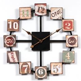 Wanduhr Groß XXL Vintage, CT-Tribe 60cm Retro Lautlos Metall Uhr Wanduhr Haus Dekoration Wall Clock Ohne Tickgeräusche - 1