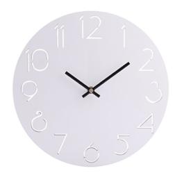 Wanduhr ohne Tickgeräusche, iVansa 12 Zoll(30cm) Wanduhr Vintage Lautlos Uhr Uhren Wall Clock ohne Tickgeräusche - Weiß - 1