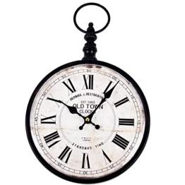Wanduhr Old Times Design Vintage Metall 36x24x5cm schwarz Uhr - 1