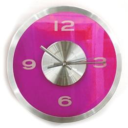 Wanduhr Transparent - Pink | Modern | Wanddekortion Wohnzimmer | Küchenuhr | Design | Geschenk für Männer und Frauen | Preis am Stiel® - 1