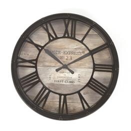 Wanduhr - Vintage-Stil - Durchmesser: 39 cm - Braun / Kupferfarben - Used-Look - 1