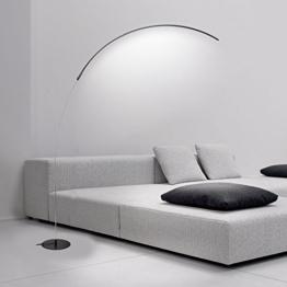 Wayking stilvolle Bogenlampe, mit energieeffizienten 15Watt LEDs, dimmbares und moderne Stehlampe, minimalistische Stehleuchte mit Fußdimmer, warmweißes Licht für Schlafzimmer, Wohnzimmer, Büro oder Studierzimmer --- Schwarz - 1
