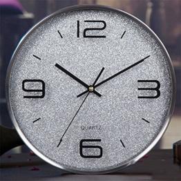 WCUI Rund Mute Uhr Wanduhr Wohnzimmer moderne europäische Art und Weise kreativer einfacher Taktgeber hängende Tabelle Quarz-Taktgeber Wählen Sie ( Farbe : Silber ) - 1
