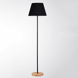 Weiche Beleuchtung Stehleuchte --- E27 Fußschalter Schwarz / Leinen Farbe / Rotwein Farbe Holzfuß Eisenlampenmast Lampenschirm Aus Stoff Stehlampe Schlafzimmer Studieren Sie Dekorationslampen Kontinental Einfach Wohnzimmer Vertikale Tischlampe 39 * 147cm --- Vertikale Stehleuchte ( Farbe : Schwarz ) - 1
