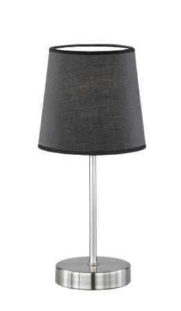 WOFI Tischleuchte Cesena 1-flammig, schwarz, Ø ca. 14 cm, Höhe ca. 31 cm, Stoffschirm 832401100000 - 1