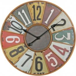 WOHNLING Deko Vintage Wanduhr XXL Ø 60 cm Industrial Time Metall bunt | Große Uhr rustikal Dekouhr rund | Design:etro Küchenuhr für Küche und Wohnzimmer - 1