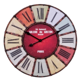 WOHNLING Wanduhr XXL ¯ 60 cm Galerie Küchenuhr Vintage-Look Bahnhofsuhr modern Römische Ziffern mehrfarbig stilvoll Wohndeko Design Wohnzimmeruhr Wanddekoration elegant Designuhr Wohnraumdekoration - 1