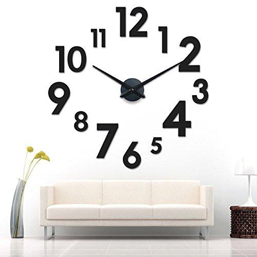 xxl 3d schwarze riesen designer wanduhr wohnzimmer dekoration wandtatoo aus acryl 1 redidoplanet. Black Bedroom Furniture Sets. Home Design Ideas