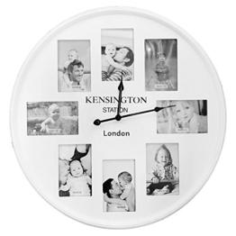 XXL Quarz Wanduhr mit 8 Fotorahmen 10x15cm Fotouhr Bilderuhr Wohnzimmeruhr Küchenuhr Landhaus Weiß Ø 60 cm - 1