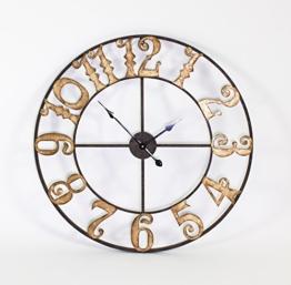 XXL Wanduhr Golden Times 80cm Metall Braun Gold Uhr Antik Rom Italien - 1