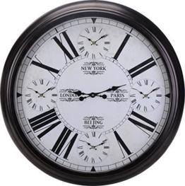 XXL Weltzeituhr Wanduhr mit Weltzeiten Schwarz Ø 93cm Metall World Time Clock - 1