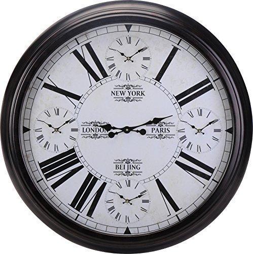xxl weltzeituhr wanduhr mit weltzeiten schwarz 93cm metall world time clock 1 redidoplanet. Black Bedroom Furniture Sets. Home Design Ideas