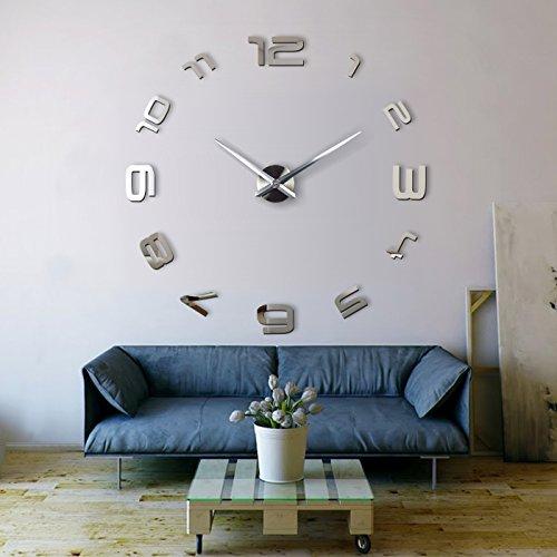 xxl3d riesige spiegel wanduhr vinyl diy 130cm gro e xxl wanduhr design uhr viii 1 redidoplanet. Black Bedroom Furniture Sets. Home Design Ideas