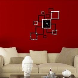 Yesiidor Wandaufkleber Abnehmbare DIY Uhr Muster Wand Aufkleber Wandtattoo für Wohnzimmer Silber Schwarz - 1
