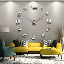YESURPRISE wanduhr Riesige Spiegel Wanduhr Vinyl DIY Ø 130cm Große XXL Design Uhr #5 - 1