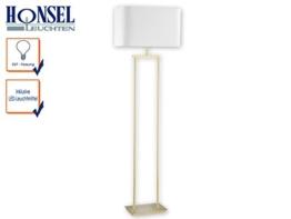 Zeitgemäße Stehleuchte IRING mit LEDs, Messing matt, Schirm eckig weiß 50 x 26cm, Höhe 160 cm, 2x E27 Fassung - 1