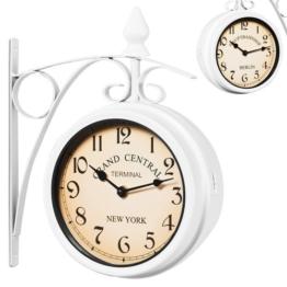 Zweiseitige Bahnhofsuhr - Wanduhr Uhr Retro Antik Stil Quarz - weiß - 1