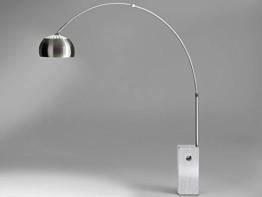 Bogenleuchte Stehleuchte Bogenlampe Marmorfuß weiß VIVIANA Edelstahl Silber Stehlampe - 1