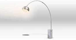 Bogenleuchte Stehleuchte Bogenlampe Marmorfuß weiß VIVIANA Edelstahl Silber Stehlampe - 5