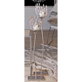 """Design Stehleuchter """"Trevi"""" aus Metall mit Windlichtglas, Standleuchte (silber, 106 cm) - 1"""