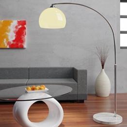 Deuba® Design Bogenlampe mit standfestem Marmorfuß höhenverstellbar 146-220cm weiß - Fußschalter - Stehlampe Stehleuchte Bogenleuchte Bogenstandleuchte Standleuchte - 1