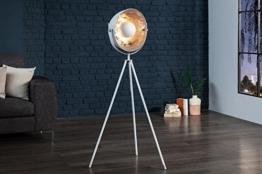 DuNord Design Stehlampe Stehleuchte CINEMA 140cm weiss / silber Retro Design Lampe Spotlampe - 1