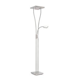 Kaemingk Modern Moderne quadratische Stehlampe Stahl/Silber/nickel matt mit Leselampe inkl. LED - Helia Dimmer/Dimmbar/Innenbeleuchtung/Wohnzimmer/Schlafzimmer/Küche/Deckenfluter Metal - 1