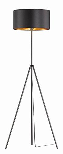 Khl LED Stehlampe Standleuchte Venedig Stoffschirm Dreifuß schwarz / Gold 9W E27 KH402732 - 1