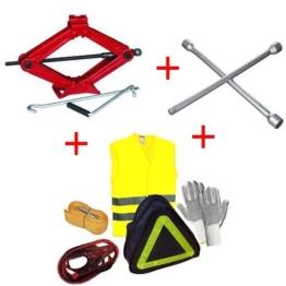 Kit Erste Hilfe im Straßenverkehr für Auto Wagenheber + Schlüssel + Handschuhe + Starthilfekabel + Seil Anhängerkupplung + Weste für Smart - 1