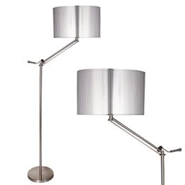 [lux.pro] Stehleuchte Stehlampe (1 x E27 Sockel)(165 cm x 45 cm) Wohnzimmerlampe Leuchte Standleuchte - silber - 1
